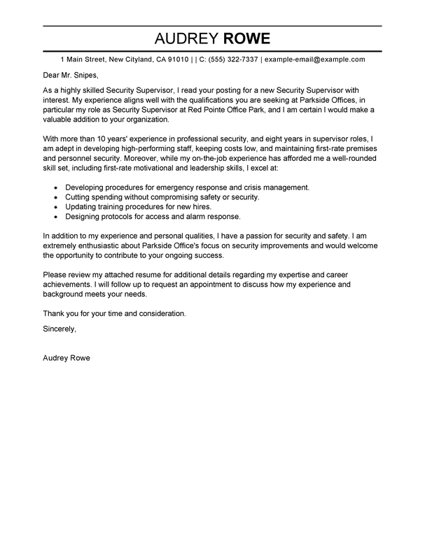 Security Cover Letter Sle