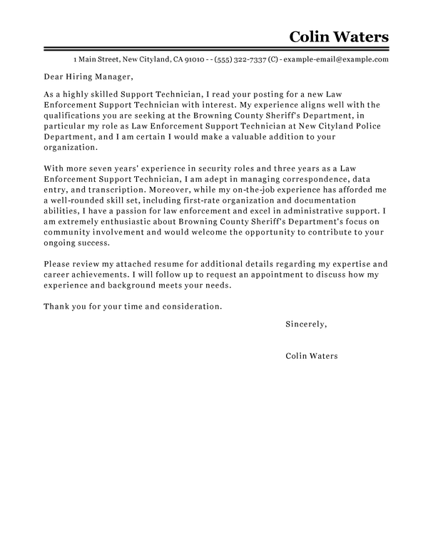 Best Service Center Technician Cover Letter Examples