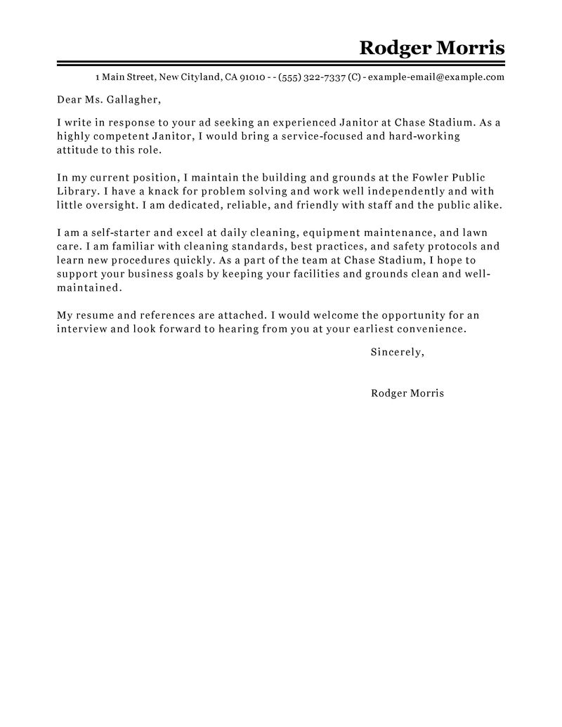 Best Maintenance & Janitorial Cover Letter Examples