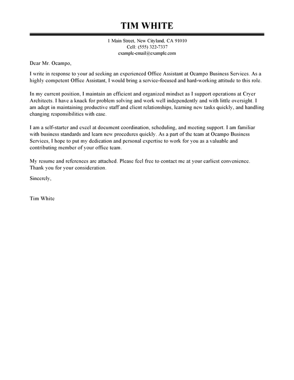 Food Service Cover Letter Exle