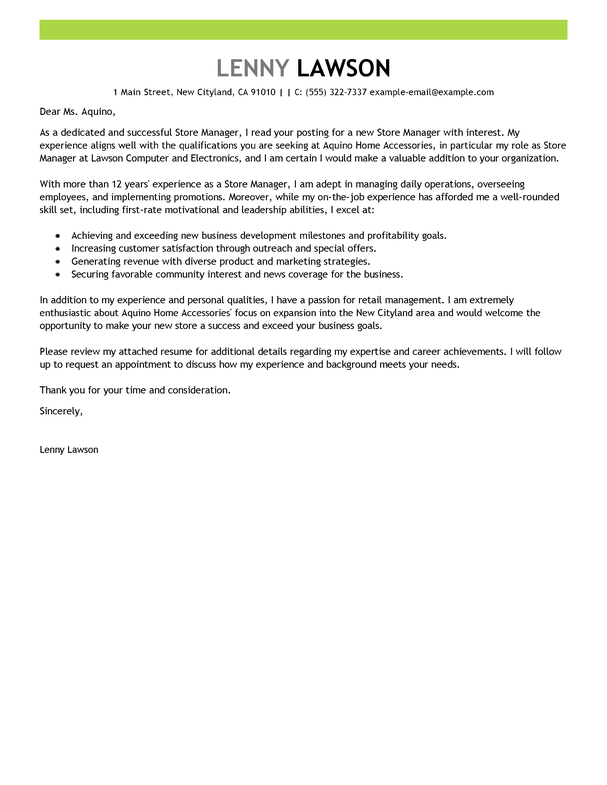 management cover letter template