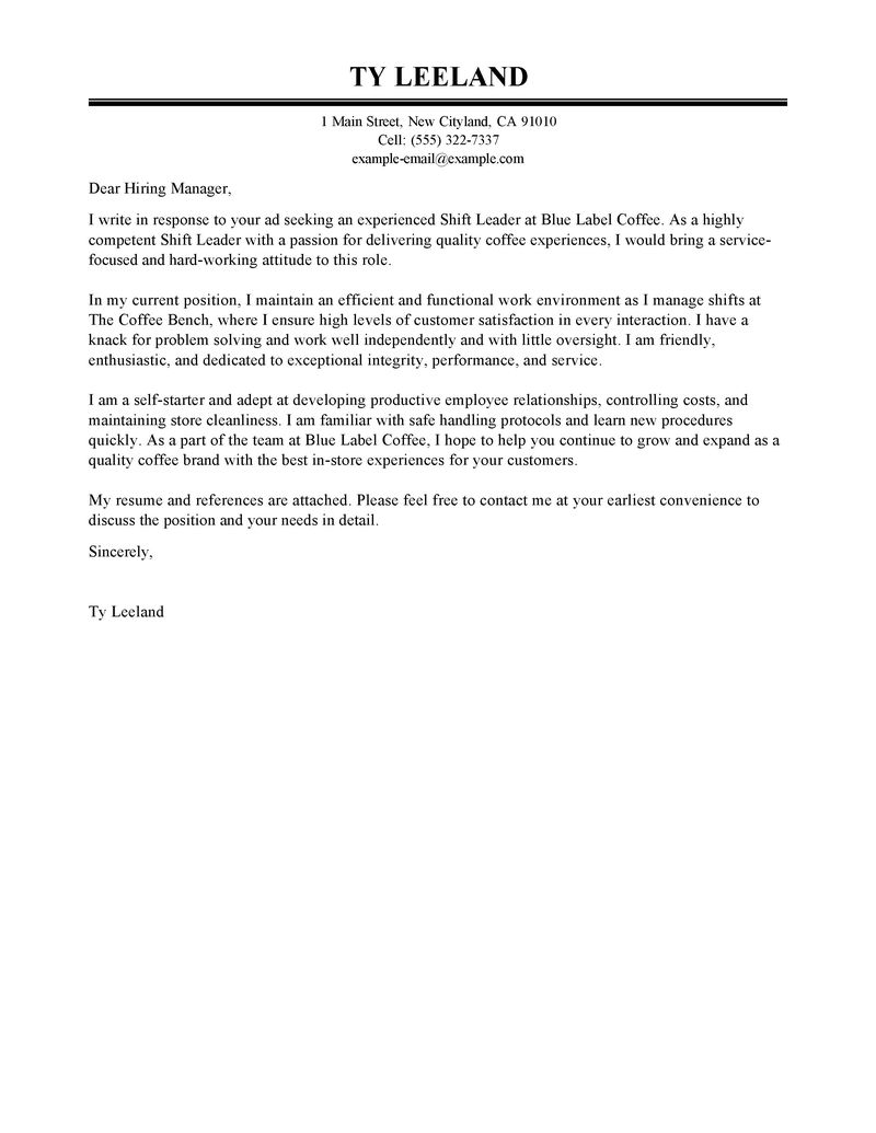 Claims Supervisor Cover Letter