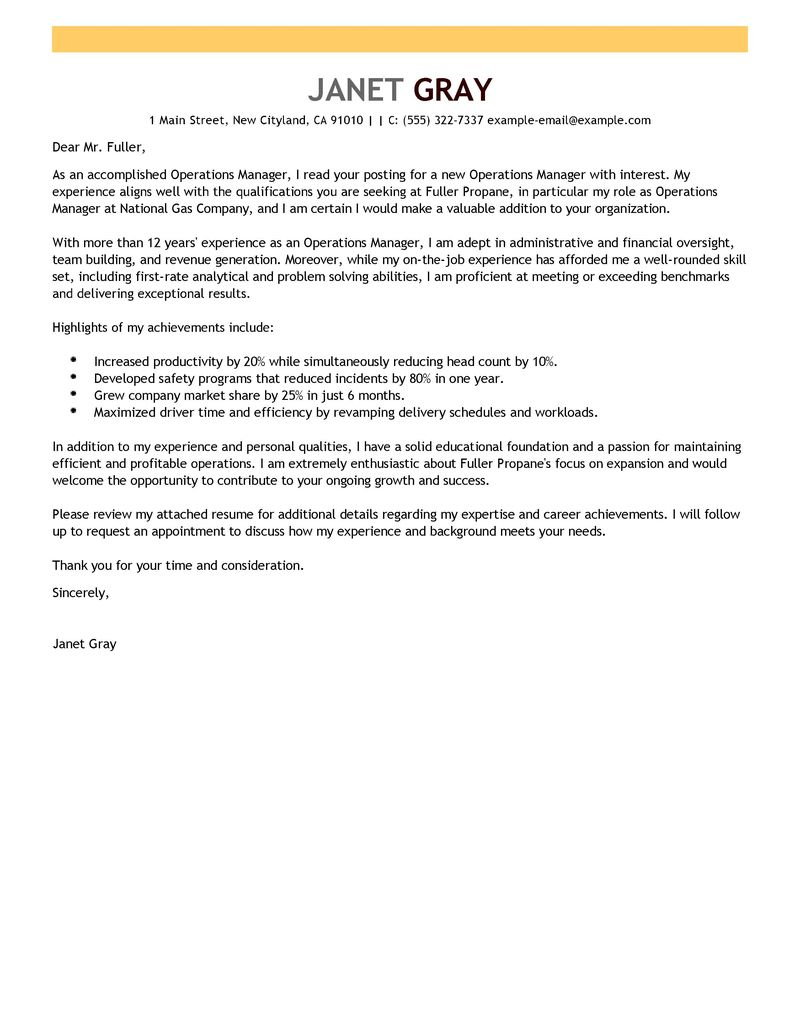 cover letter for business operations manager position The sample below is for operations and transportation management cover letter this cover letter was written by resumemycareer's staff of professional resume.