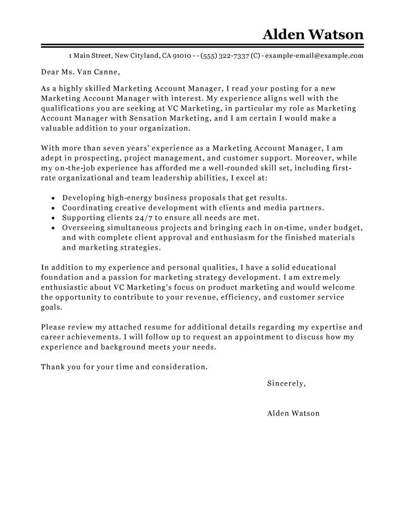 cover letter communication manager
