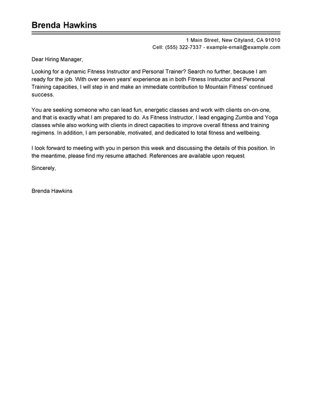 Best Fitness And Personal Trainer Cover Letter Examples