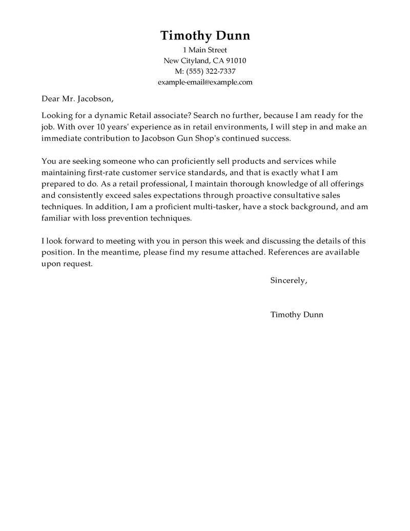 Best Retail Cover Letter Examples LiveCareer