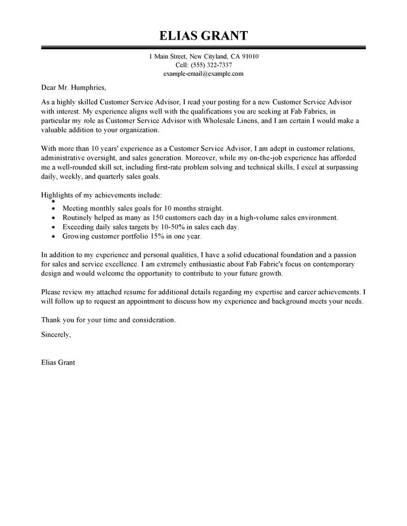 Entry Level Cover Letter Customer Service