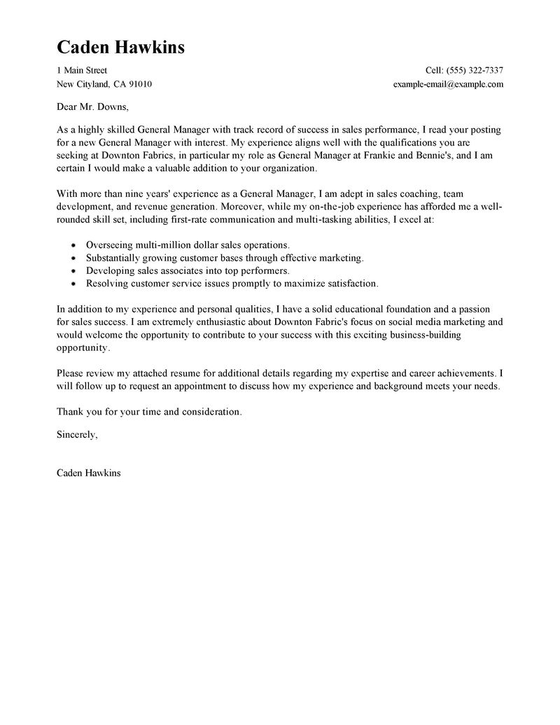 Best Sales General Manager Cover Letter Examples LiveCareer  Best Sales Cover Letter