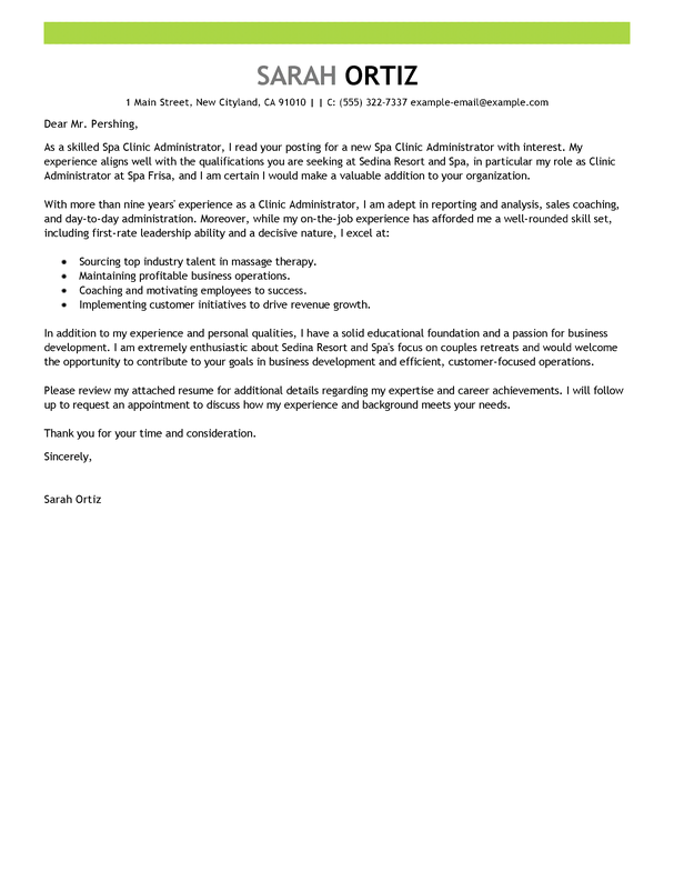 Clinic Manager Cover Letter