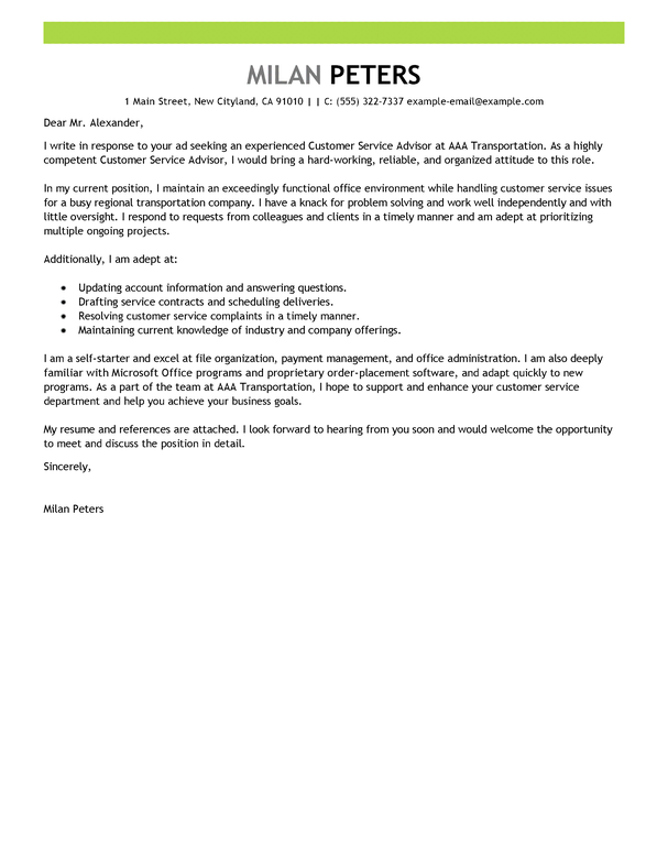Best Transportation Customer Service Advisor Cover Letter Examples