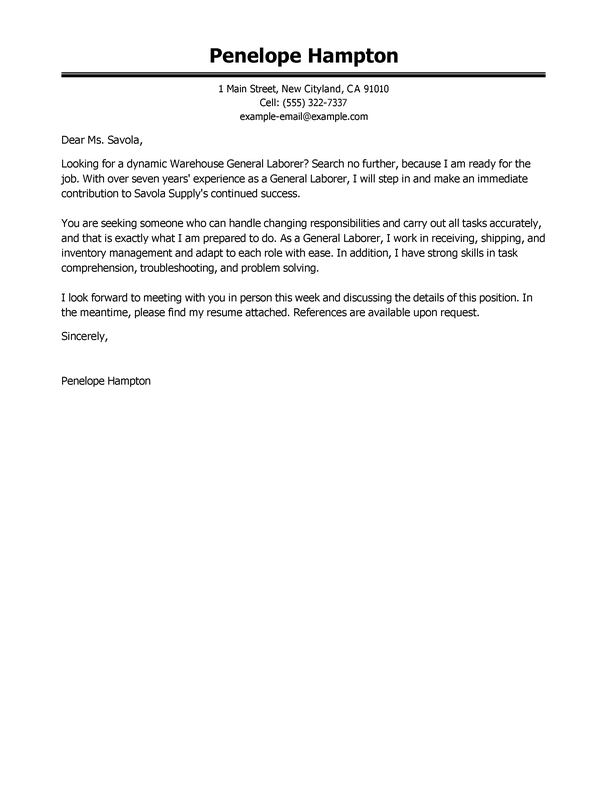 Best General Labor Cover Letter Examples LiveCareer
