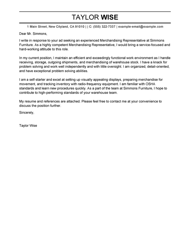 Cover Letter Examples For Furniture Sales