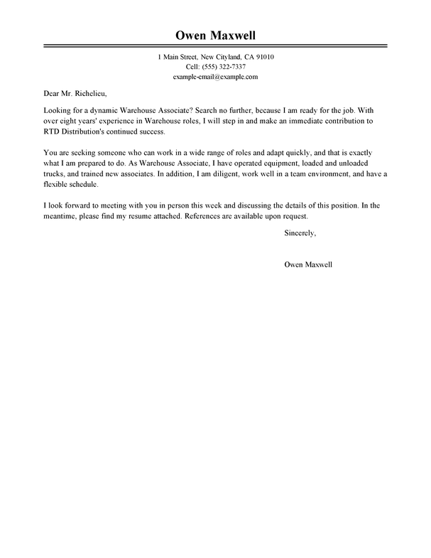 warehouse resume cover letter examples