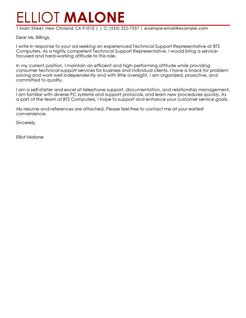 Best Technical Support Cover Letter Examples  LiveCareer