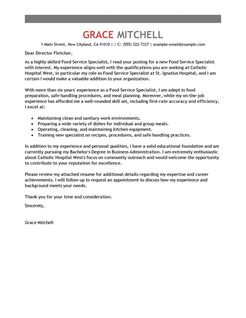 Best Food Service Specialist Cover Letter Examples