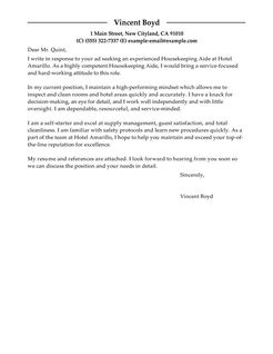 Best Housekeeping Aide Cover Letter Examples  LiveCareer