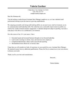 Best Assistant Store Manager Cover Letter Examples
