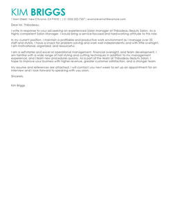 Best Salon Spa  Fitness Cover Letter Examples  LiveCareer
