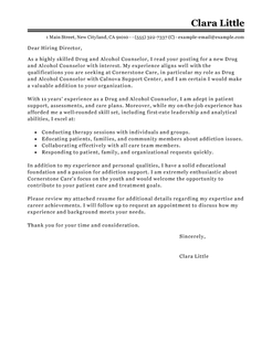 Best Drug And Alcohol Counselor Cover Letter Examples