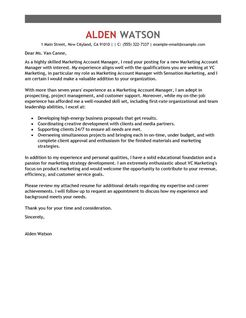 Account Manager Cover Letter Examples Marketing Cover