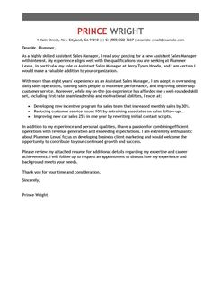 Assistant Manager Cover Letter Examples Automotive Cover
