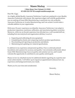 Quality Assurance Cover Letter Examples Wellness Cover