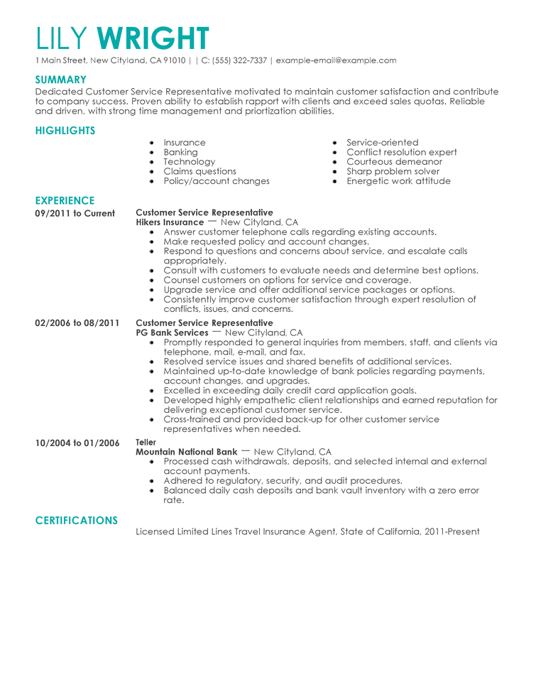 resumes examples free