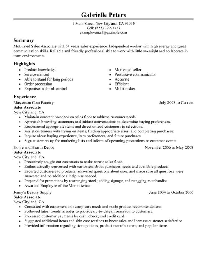 example job resume resume sample