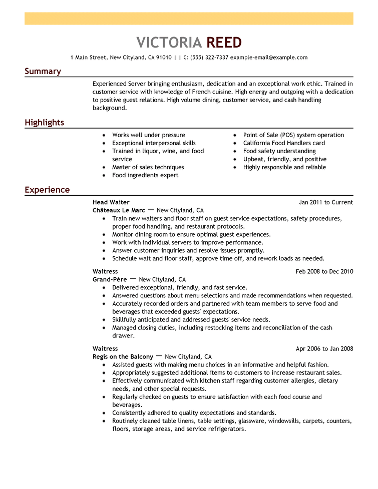 resume templates for restaurant positions