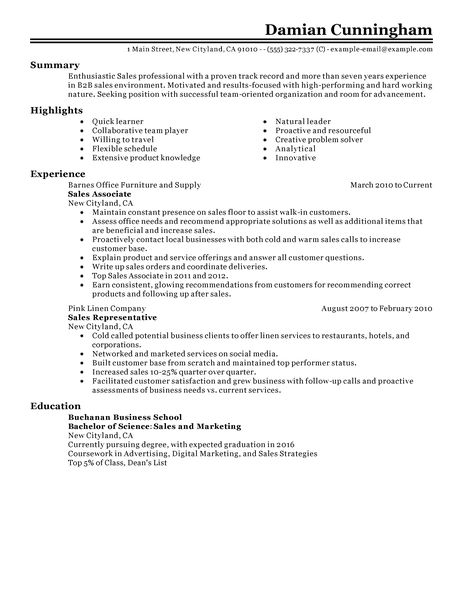 real estate sales associate resume example