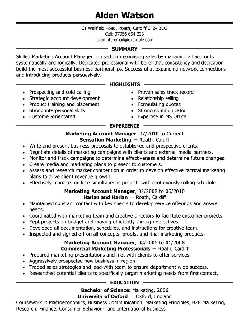 best account manager resume example livecareer - Marketing Manager Resume