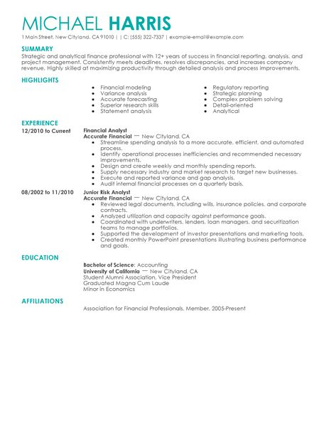 Financial Accountant Resume Example - Examples of Resumes