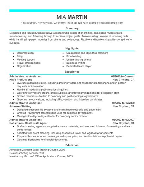 examples of executive administrative assistant resumes