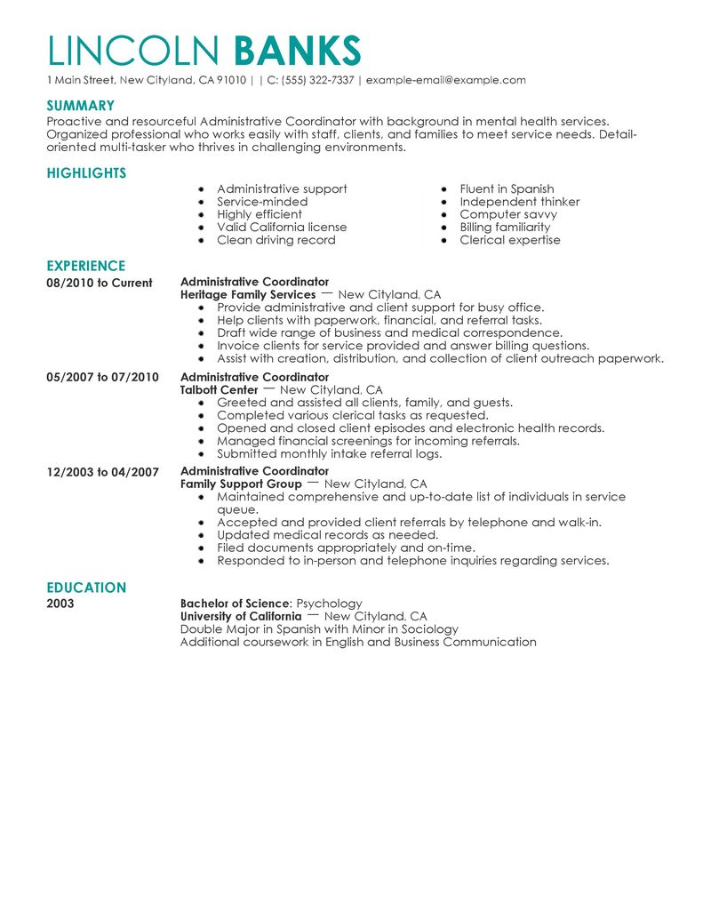 Best Social Services Administrative Coordinator Resume Example