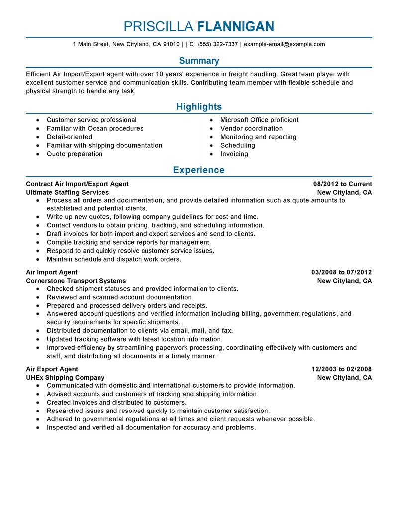 Air Import Export Agent Resume Examples  Government  Military Resume Samples  LiveCareer