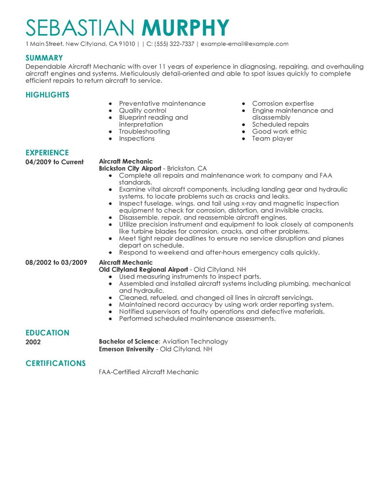 best aircraft mechanic resume example livecareer - Maintenance Mechanic Resume