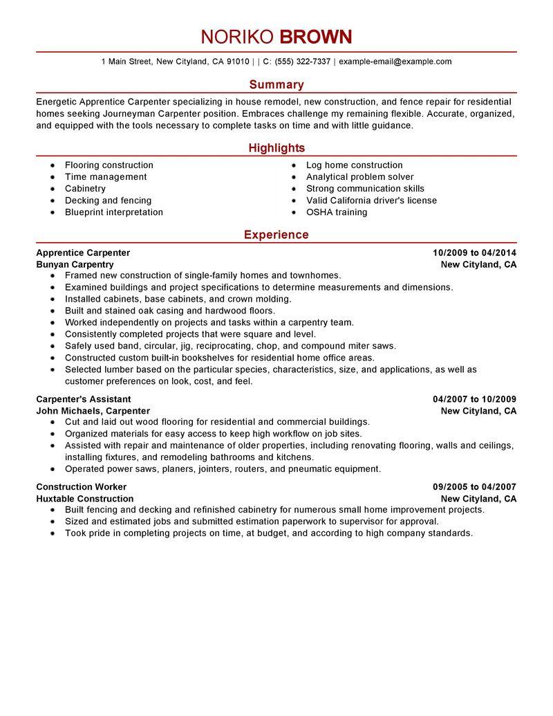Sample Resume Carpenter Apprentice All New Resume Examples