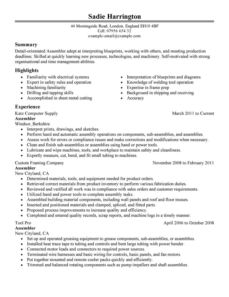 mechanical assembler resume cover letter