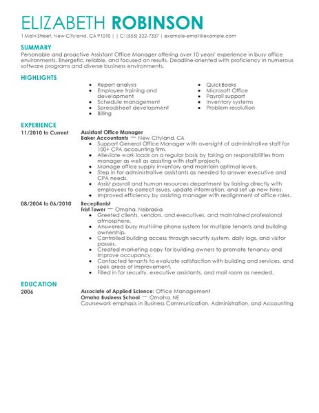 Best Admin Assistant Manager Resume Example LiveCareer