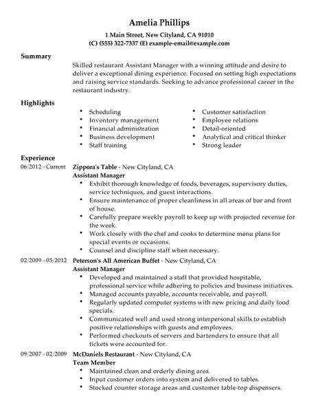 Restaurant Manager Job Description Bar Restaurant Manager Job  Assistant Manager Job Description Resume