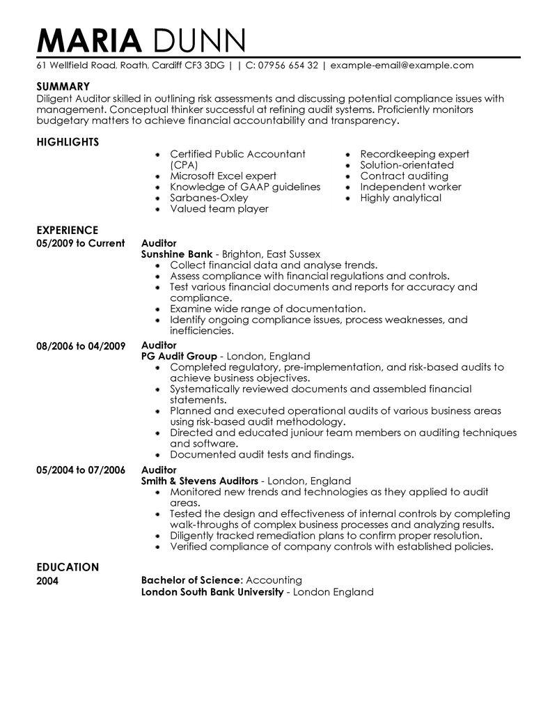 internal auditing resume samples