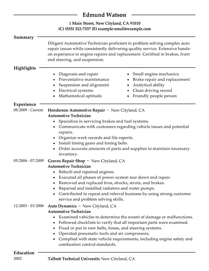 Auto Mechanic Resume Examples Examples Of Resumes