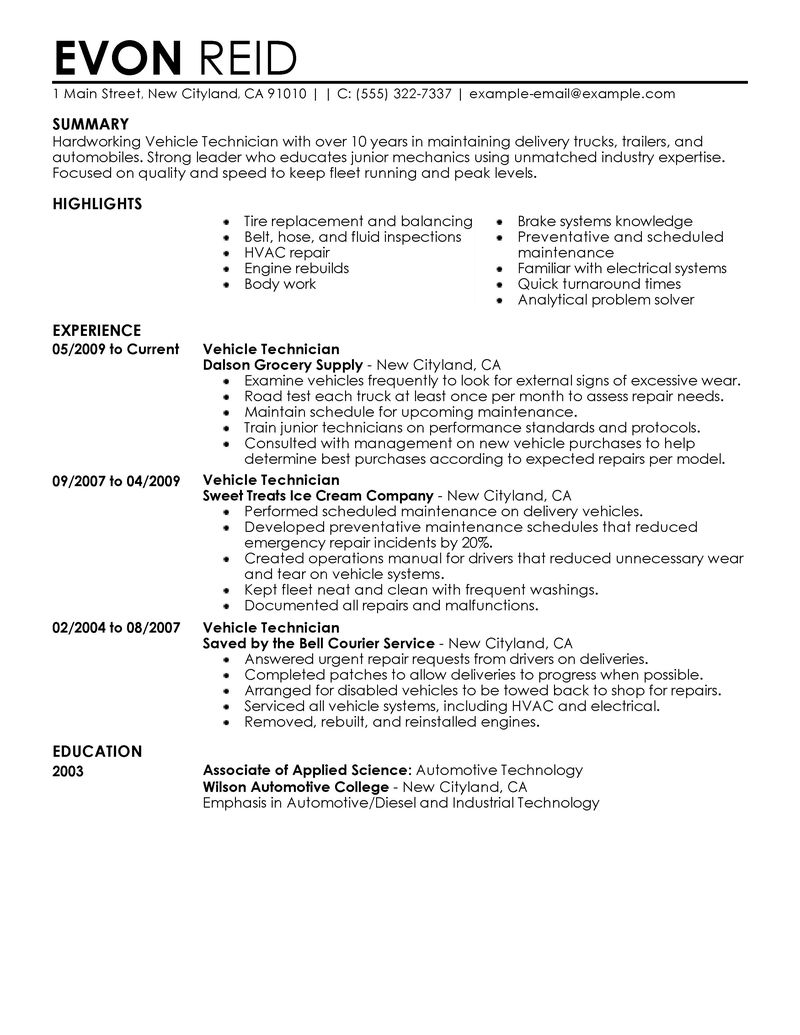 Automotive Technician Resume Examples - Examples of Resumes