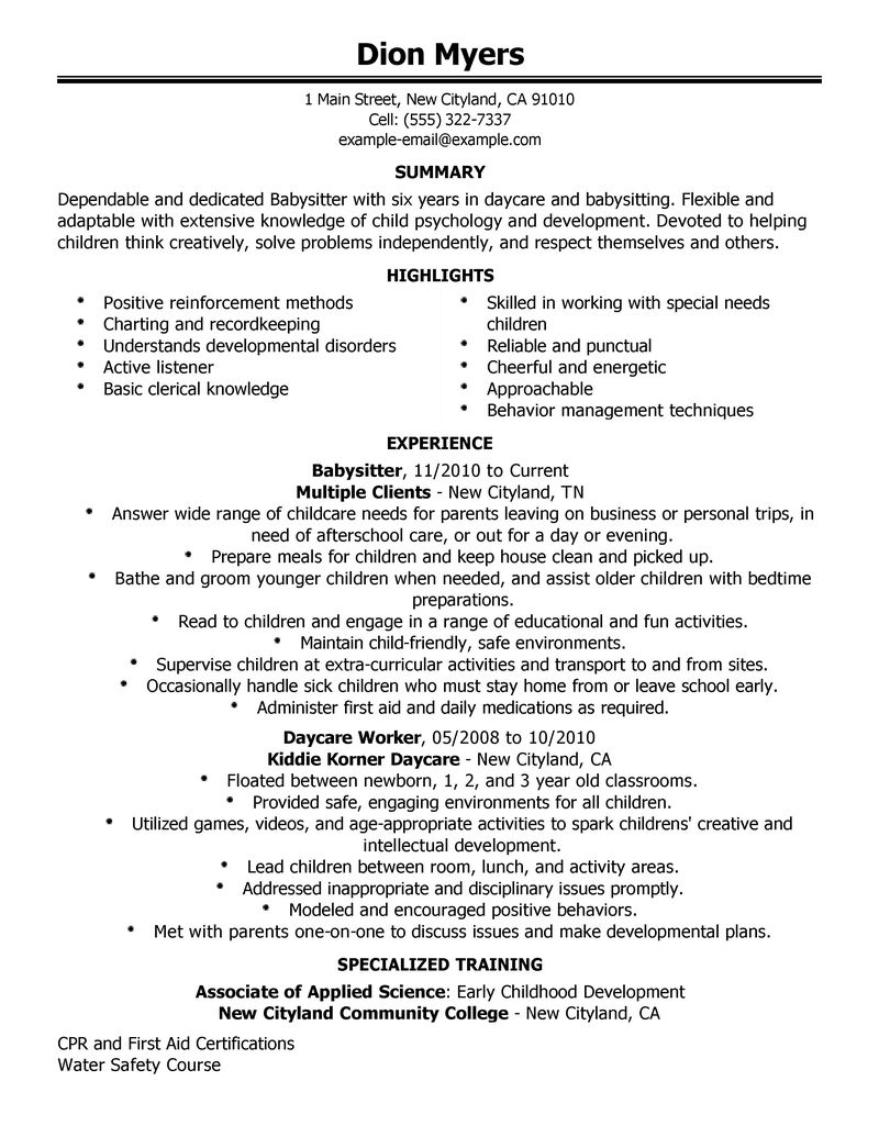Resume For Babysitting Examples - Examples of Resumes