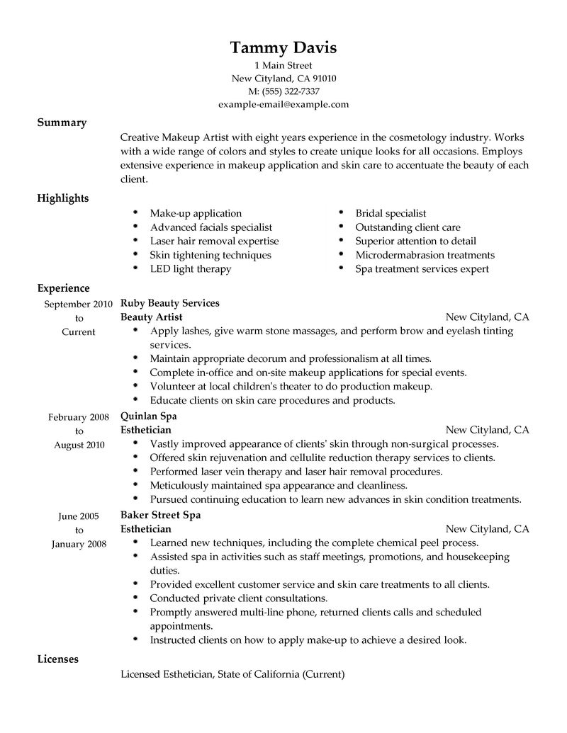 Best Beauty Artist Resume Example LiveCareer