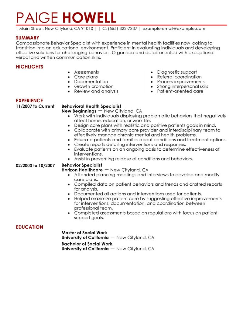 Best Behavior Specialist Resume Example LiveCareer