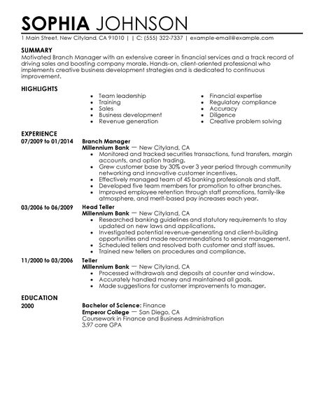 Sample Bank Manager Resume Branch Manager Resume Bank Branch