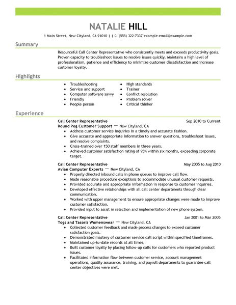 Simple Call Center Representative Resume Example LiveCareer