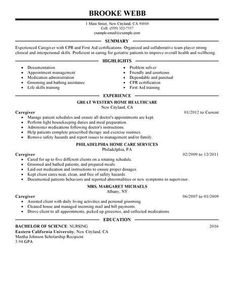 Caregiver Sample Resumes Unforgettable Caregiver Resume Examples
