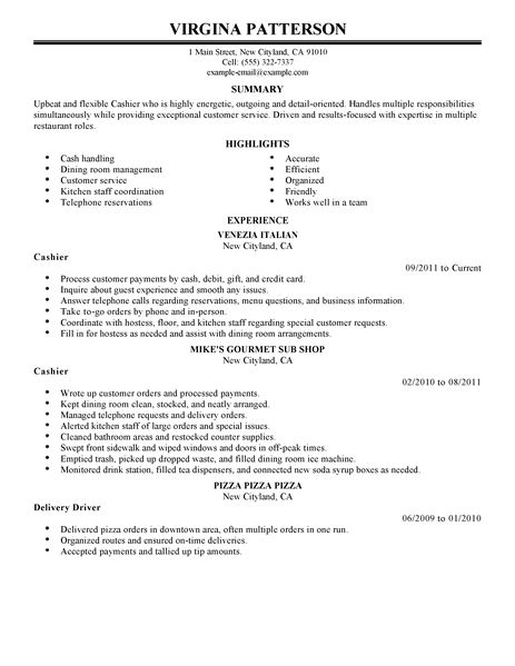 Free Sample Resume For Cashier Position Cashier Resume